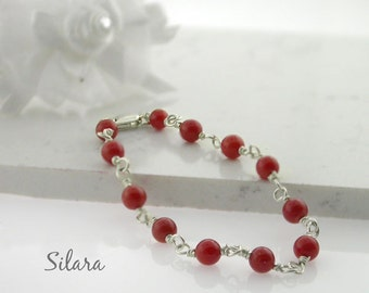 Red Coral Baby Bracelet and Silver Gift