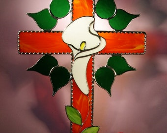 Stained Glass Suncatcher Cross with Lily  (437)