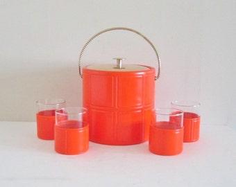 Vintage 60s Mid Century Mod Orange Vinyl Ice Bucket and Glasses
