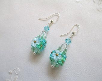Turquoise Cone Lampwork Earrings