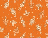 SALE - Robotic - Zoom Spaceship Orange by Rebekah Ginda - Organic Cotton Print from Birch Organic Fabric