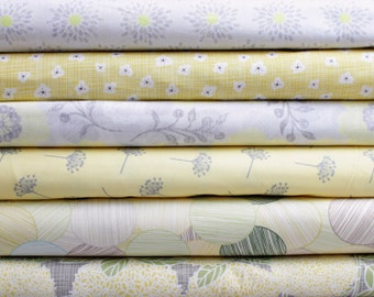 Modern Yellow Gray Floral Bundle -  Half Yard Bundle - 6 half yard pieces (B244)