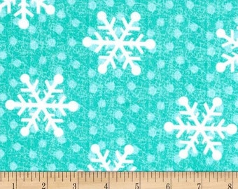 Tossed Large Snowflakes Aqua - FLANNEL Fabric from A.E. Nathan