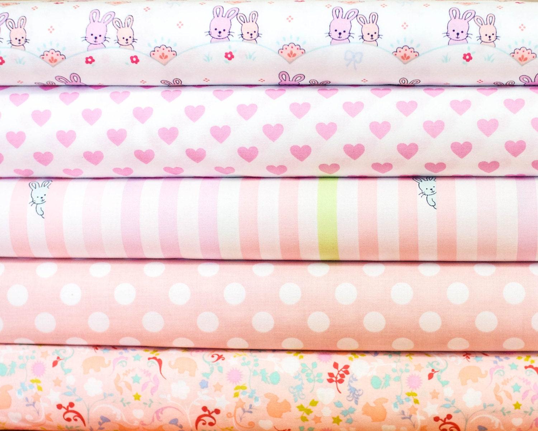 Nursery girl baby pink fabric bundle half yard by jaqsfabrics for Pink nursery fabric
