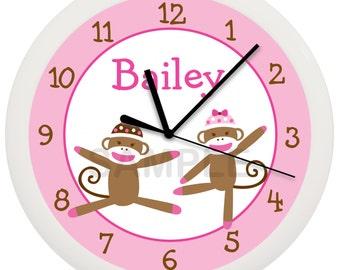 Sock Monkey Pink or Blue Personalized Nursery Wall Clock