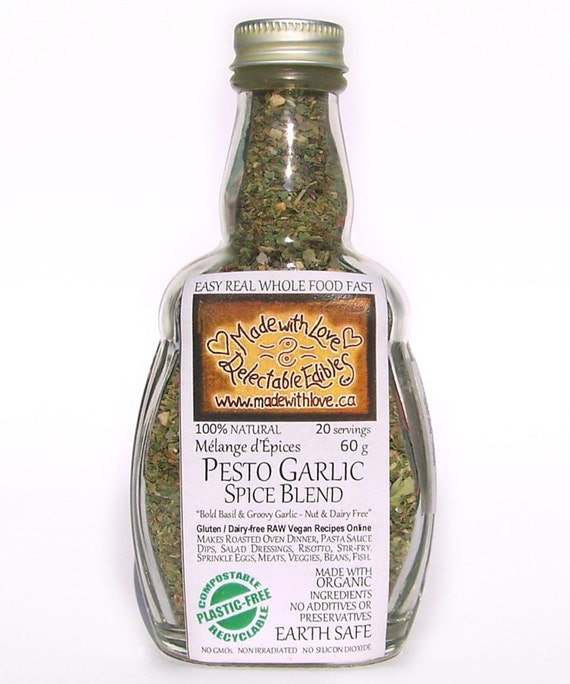 Pesto Garlic Spice Blend Artisan Gourmet Hand-crafted Nut-Free / Cheese-Free - Organic Pasta Sauce Mix - Dip Mix - Organic Food Herb Spice