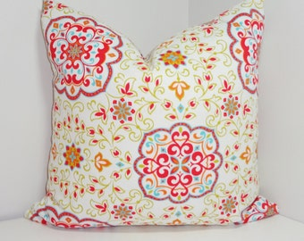 OUTDOOR Pillow Cover Red Green Orange Blue Floral Design Patio Deck Pillow Cover 18x18