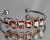 Red and White Foil Candycane  Murano Glass Bead For European Style Charm Bracelets