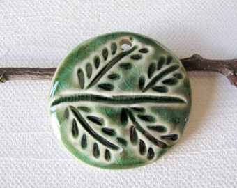 Evergreen Branch Pendant Stoneware Clay