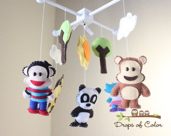 Baby Mobile - Baby Crib Mobile - Inspired by Paul Frank Julius Jr and Friends Mobile - Nursery Mobile - Monkey, Giraffe, Panda Bear