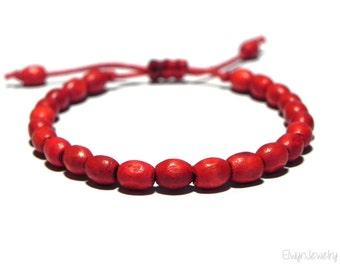 Red Cord Bracelet, Mens Wood Bracelet, Red Wooden Bracelet, Tiny Red Bracelet, Red String Bracelet, Gift For Him, Mens Bracelet, Mens Gift