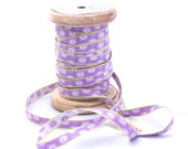 Woven Ribbon light violet with stars, 1 cm width, 2 Meters (2.18 yard)