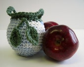 Crochet Apple Cozy Cozies for Fruit  - Shades of Blue and White with Sage Green Leaves