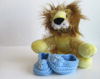 Crochet Baby Booties - Baby Blue with Blue Buttons - Newborn to 3 Months