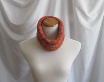 Wool Felted Cowl - Crochet Felted Wool in Orange and Brown