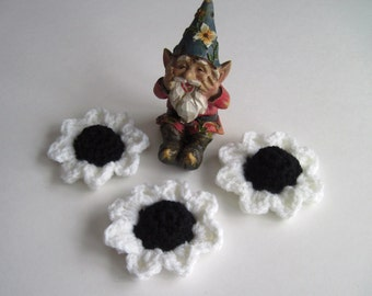3 Flower Appliques - Black Cone Centers with White Pedals - Set of 3