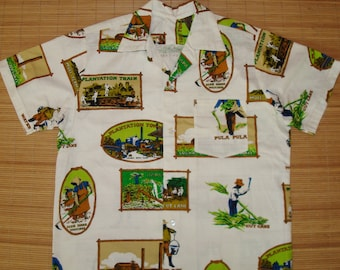 Mens Vintage 70s Oahu Sugar Mill Plantation Hawaiian Shirt - L - The Hana Shirt Co