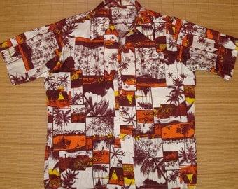 Mens Vintage 60s Go Barefoot Hawaiian Aloha Shirt - L - The Hana Shirt Co