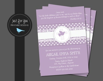 Christening, Baptism, Baby Dedication, First Communion, Confirmation Invitation - Lavender, Blue, Pink, Sage Green, Turquoise, or Taupe