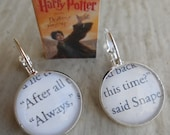 """Harry Potter, """"Always"""" Said Snape, Earrings. Wedding, Birthday, Christmas, Anniversary. Silver Plated. CUSTOM ORDERS WELCOME"""