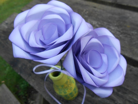 Lavender Paper Roses. Gift, 1st Anniversary, Wedding Favor, Mother's Day Gift, Valentines, Birthday. Custom Orders Welcome.
