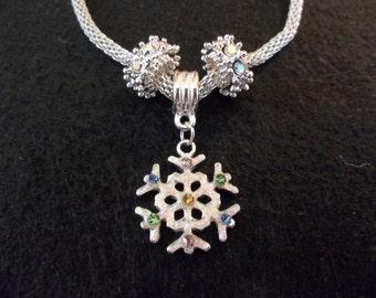 Holiday Bracelet - Snowflake Bracelet - Silver Jewelry