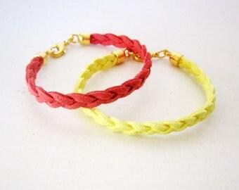 Yellow leather bracelet, yellow braided bracelet, Yellow bracelet, Minimal bracelet, Stacking bracelet, Suede leather rope bracelet yellow