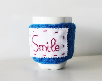 Crochet cup cozy, Inspirational quote, Custom word cozy, crochet mug warmer, Personalized cup cozy, Custom cup sleeve, Quote mug, Quote cup
