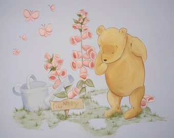 Classic pooh nursery etsy for Classic pooh nursery mural