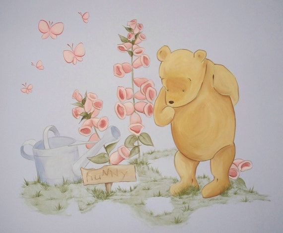 In home estimate for hand painted classic pooh nursery mural for Classic pooh wall mural