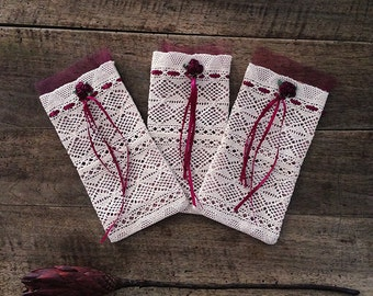 A Set of 3 Bags, 3 Lace gift bags with flower ornaments, Wedding favor bags, Baby Shower bags, Favors