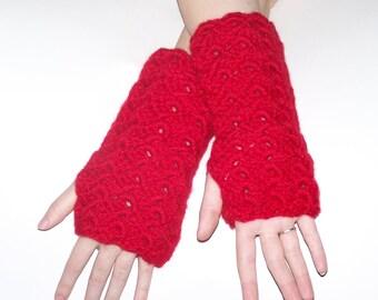 Plus size Red Chunky Weight Yarn Arm Warmer/Wrister/Fingerless Glove