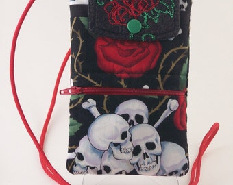 Skull and Roses Smart Phone/Cell Phone Wallet-Purse-Handheld Game Pouch--Hip Length Handle