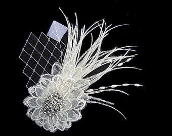 Bridal Lace Flower & Feather Hair Clip, Wedding Fascinator, Brooch Pin with Rhinestone Veil - celine-