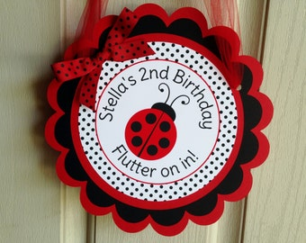 Ladybug Birthday Party Door Sign in Red and Black