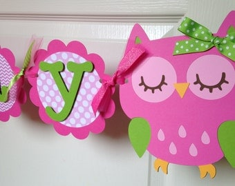 Owl Birthday Party Banner in Pink and Green