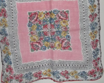 Multi-Color Floral Surrounded by Pink Border Handkerchief