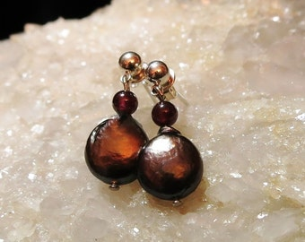Garnet and Tahitian Pearl Earrings   Silver Posts  OOAK  Metaphysical Gems and Minerals January Birthstone