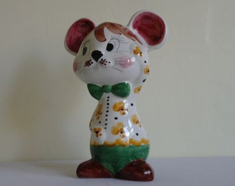 Vintage Italian Ceramic Mouse Money Box - 9""