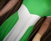 Dress, 1970s, Green & white Maxi frock, Designer label.