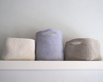 Large Crochet Basket. Round basket. Square basket. Storage basket. Cesta grande. Cestino uncinetto. Grande cesto. Häkeln Korb. Panier.