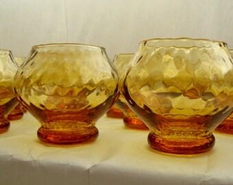 Amber UCAGCO Highball Glasses, UCAGCO Barware, Vintage Barware, Vintage Highball Barware