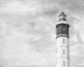 Calais lighthouse, Black and White, Coastal wall art, Lighthouse photo, Minimalist art, Moody seashore print, Livingroom wall art