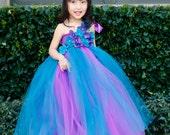 Flower girl dress. Purple and Teal TuTu Dress. Tulle dress,girls flower dress,clothing, baby tutu dress, toddler tutu, wedding, birthday,