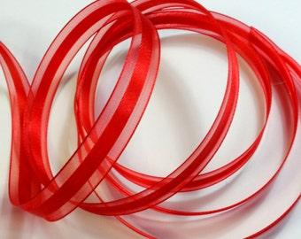 "1/2"" Satin Center Organza Ribbon - Red - 25 yard spool"