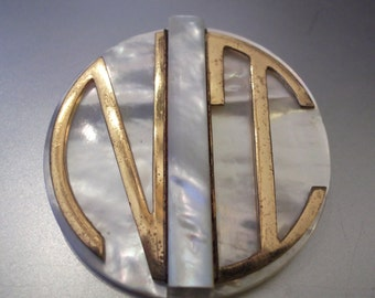 Art Deco Mother of Pearl and Brass Monogram Brooch