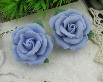 2 pcs   - 34mm Ceramic Rose Flower,Blue
