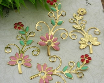 8 pcs ( 21x38mm) Gold Plated Flower Finding Resin Glossy  Filigree Charms.