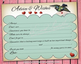 Wedding Advice Mad Libs, Vintage Lovebirds Wish Cards, Printable Bridal Shower Game, INSTANT DOWNLOAD Digital File by Event Printables