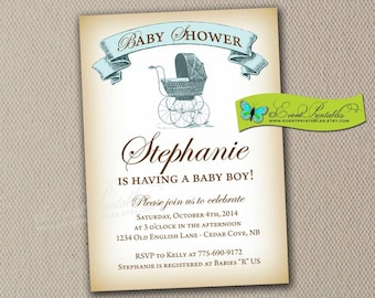 Vintage Baby Shower Invitation, Girl Boy Pink Blue Neutral, Baby Carriage Printable Digital Invitation by Event Printables
